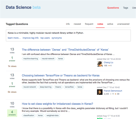 Keras-tagg på DataScience Stack Exchange