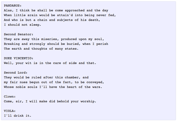 Automatic Text Generation Example of Shakespeare