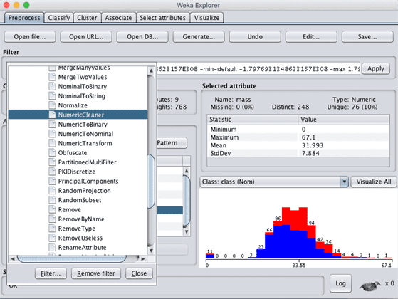 Weka Select NumericCleaner Data Filter